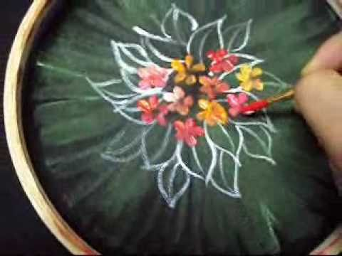painting two or more colours with round brush - fabric painting episode 4