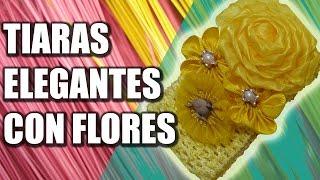 getlinkyoutube.com-Tiaras elegantes con flores de liston gross y organza, Tiara de flores de listón, #556