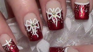 getlinkyoutube.com-Weihnachts Nageldesign mit Schleife / Christmas Nails / Xmas Nail Art Design Tutorial