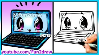 getlinkyoutube.com-Learn to Draw Back To School Laptop - Art Lessons for Beginners Step by Step Fun2draw