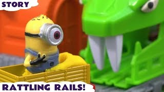 getlinkyoutube.com-Thomas & Friends Minions Cars Avengers Ultron Play Doh Toy Story Rattling Rails Hulk Wolverine