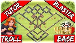 getlinkyoutube.com-Clash Of Clans: TH9 Troll Base BOMB TOWER - Tutor Blaster + Replays Town Hall 9 Troll Base 2016