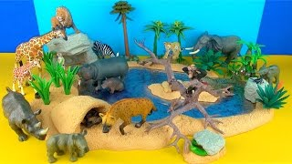 Happy Cute ZOO Animals WILDLIFE Watering Hole Playset LION ZEBRA ELEPHANT Toy Review SuperFunReviews