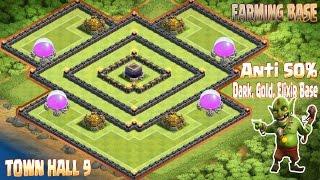 getlinkyoutube.com-Coc Th9 Best Farming Base 2016. Town Hall 9 Anti 50% Dark, Elixir, Gold Base Clash Of Clans