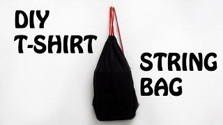 getlinkyoutube.com-How to make string bag from old T-shirt ! | DIY | 2016