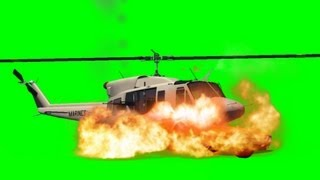 getlinkyoutube.com-Helicopter crash on a Car and explode Movie FX Green Screen