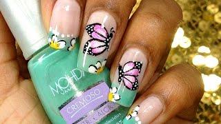getlinkyoutube.com-Unhas Decoradas com Borboleta Carga Dupla - Butterfly nail art tutorial - Simone Dutra