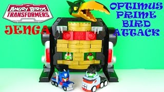 getlinkyoutube.com-Angry Birds Transformers Jenga: Optimus Prime Bird Attack Game Playset Toy Review Hasbro Toys