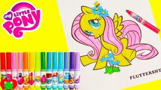 getlinkyoutube.com-My Little Pony Fluttershy Coloring Page Crayola Shopkins Num Nom Lip Balms and Surprises