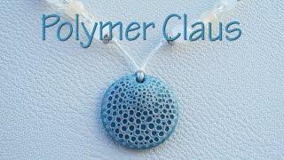 getlinkyoutube.com-Sea sponge effect pendant (english sub - polymer clay pendant tutorial)