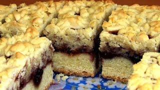 getlinkyoutube.com-Легкий домашний тертый пирог с вареньем / Рецепт песочного пирога