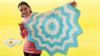 getlinkyoutube.com-Classic Round Ripple Crochet Baby Blanket - Sunburst Pattern