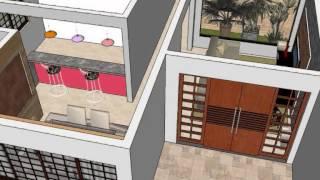 getlinkyoutube.com-Projeto casa com 3 quartos sketchup