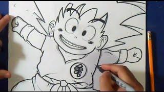 "getlinkyoutube.com-Comment dessiner Goku ""Dragon ball z"" | Wie zeichnet Goku"