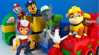 getlinkyoutube.com-Paw Patrol and Lego Duplo Build Trucks with Chase Marshall Rubble Rocky Rubble Chickelleta