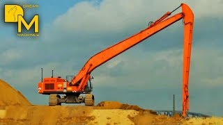 getlinkyoutube.com-HITACHI ZAXIS 600 LONG REACH BAGGER MIT MEGA AUSLEGER VERTEILT SAND