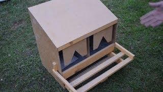 getlinkyoutube.com-Деревянный гнездовой ящик для кур  на два гнезда, с яйцесборником