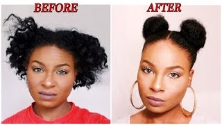 getlinkyoutube.com-Pigtail Buns On Short Natural Hair
