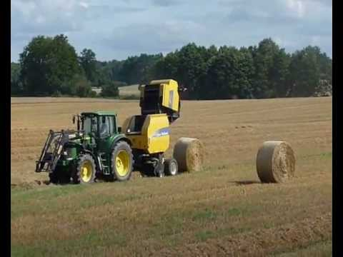 Żniwa 2012. John Deere 6520 + New Holland BR 7060