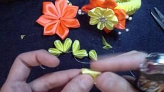 getlinkyoutube.com-Flor de fita para xuxinha/ ribbon flower