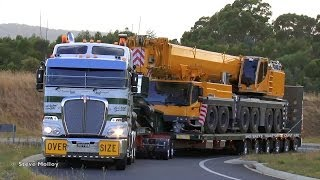 getlinkyoutube.com-Membreys Kenworth K200 and unloading Liebherr LTM 1350