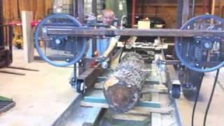 getlinkyoutube.com-First cut!  Homemade hydraulic bandsaw mill