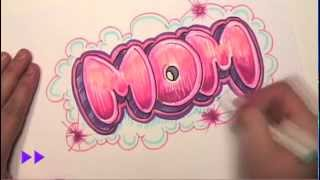 getlinkyoutube.com-How to Draw Graffiti Letters - Write Mom in Bubble Letters - MAT