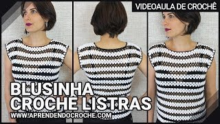 getlinkyoutube.com-Blusinha Crochê Listras - Aprendendo Crochê
