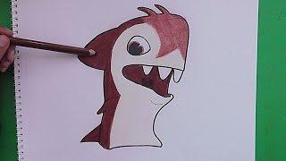 Dibujando y coloreando a Sharkus (Bajoterra) - Drawing and coloring Sharkus