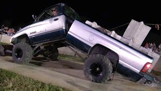 getlinkyoutube.com-DODGE RAM DIESEL PULL TRUCK BENDS IN HALF
