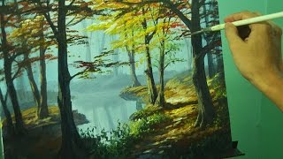 getlinkyoutube.com-Acrylic Painting lesson - Autumn in Forest by JM Lisondra