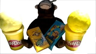getlinkyoutube.com-MINIONS Play Doh Surprise Eggs Despicable Me Tic Tac Stickers Toys