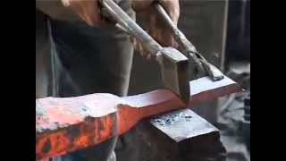 getlinkyoutube.com-How its made kitchen knife by pneumatic hammer in chinese traditional process?