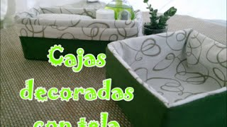 getlinkyoutube.com-Caja de cartón decorada con tela