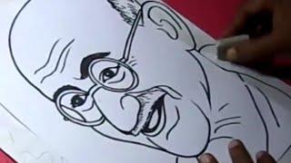 getlinkyoutube.com-How to Draw MAHATMA GANDHI Drawing Step By Step for Kids in TELUGU