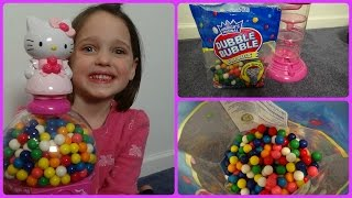"getlinkyoutube.com-Hello Kitty Gumball Machine ""Double Bubble Gum"" Messy Filling Annabelle"