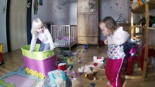 Twins Bedtime - Funny Twins At Work Designing Kids Room - Interior Design Time Lapse