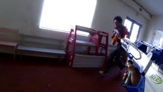 getlinkyoutube.com-Indoor Nerf War TDM 2/17/13 - 5 Outs & 3 Headshots (Elite Rayven 8.4v) (Game 1)