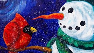 getlinkyoutube.com-Beginners acrylic painting  | Snowman with Cardinal | The Art Sherpa paint along