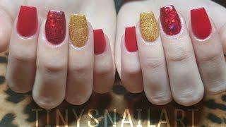 getlinkyoutube.com-Red And Glitter Acrylic Nails