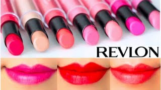 getlinkyoutube.com-Revlon ColorStay Ultimate Suede Lipstick Swatches on Lips 7 colors