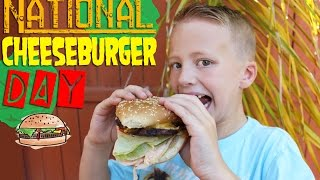 getlinkyoutube.com-CHEESEBURGER OVERLOAD!!  It's National Cheeseburger Day!!