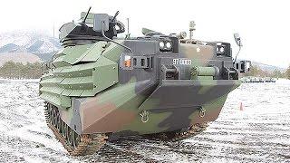 getlinkyoutube.com-陸自、水陸両用車「AAV7」公開=雪原で高い走行性能披露