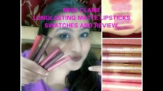 getlinkyoutube.com-Miss Claire Long Lasting matte Lipsticks Swatches and Review / Impressions kb is now online .