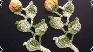 getlinkyoutube.com-Ramo com folhas e flor - Tutorial completo - Parte única
