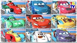 getlinkyoutube.com-Disney Pixar Cars Lightning McQueen Ice Racers All 9 Tracks | Cars Daredevil Garage
