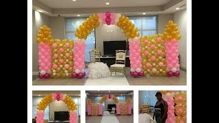 getlinkyoutube.com-How to Build a Balloon Castle Wall for a Princess Theme Party Pink and Gold Decorations