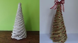 getlinkyoutube.com-Jak zrobić choinkę z papierowej wikliny, wicker paper, christmas tree
