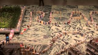 VIDEO: The world's longest book domino chain at the Seattle Public Library