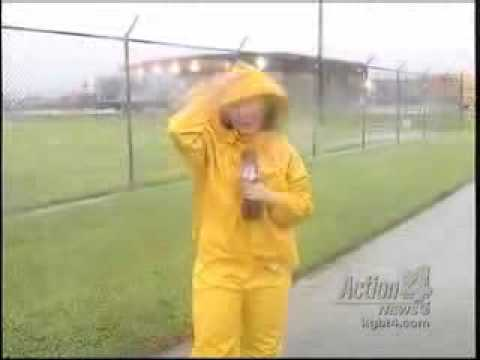 Let-it-rain Video: TV News Lady in yellow rainwear 2